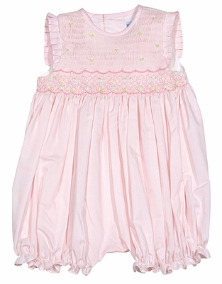 26134391493 Luli   Me Baby Girls Flutter Sleeve Smocked Bubble - Pink