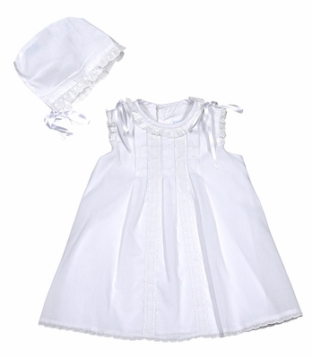 Luli & Me Baby Girls White Organdy Lace Embroidered Dress with Bloomers & Bonnet