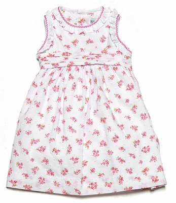 Luli & Me Baby / Toddler Girls Pink Floral Dotted Swiss Sleeveless Dress with Sash