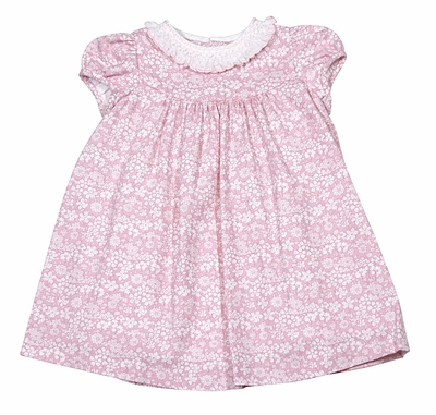 Luli & Me Baby Girls Pink / White Floral Dress with Smocked Ruffle Collar