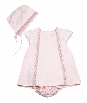 Luli & Me Baby Girls Quilted Pink Pique Dress with Bloomers & Bonnet