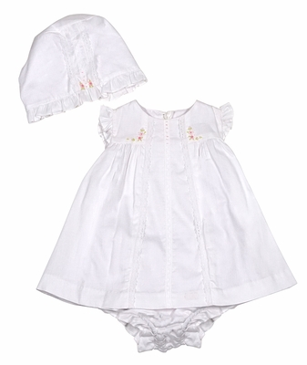 Luli & Me Baby Girls White Dress with Flower Embroidery - Bonnet & Bloomers Too