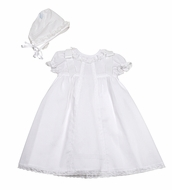 Luli & Me Baby Girls White Organdy Lace Christening Gown with Bows and Hat