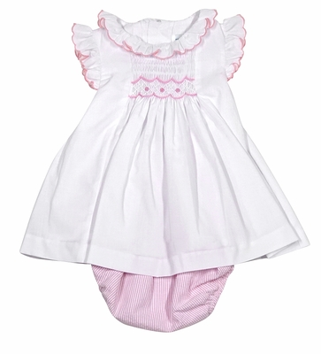 Luli & Me Baby Girls White Ruffle Dress - Smocked in Pink with Striped Bloomers