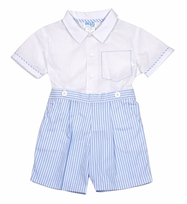 Luli & Me Baby / Toddler Boys Blue Striped Button On Shorts Set