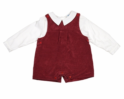 Luli & Me Baby / Toddler Boys Burgundy Corduroy Shortall with Shirt