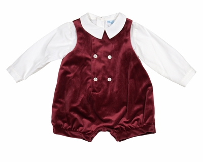 Luli & Me Baby / Toddler Boys Velvet Holiday Jon Jon Set - Burgundy