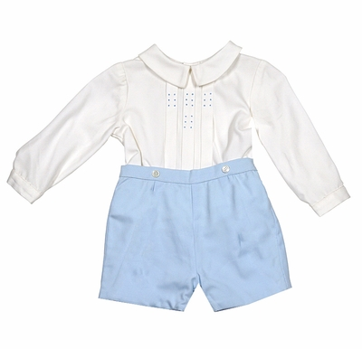 Luli & Me Baby / Toddler Boys Embroidered Blue Button On Shorts Outfit