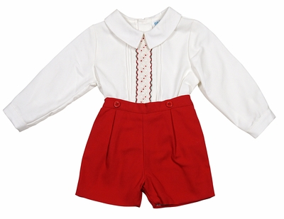 Luli & Me Baby / Toddler Boys Embroidered Red Christmas Button On Outfit