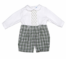 Luli & Me Baby / Toddler Boys Green Plaid Embroidered Button On Shorts Suit