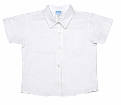 Luli & Me Baby / Toddler Boys Linen Blend Shirt - White