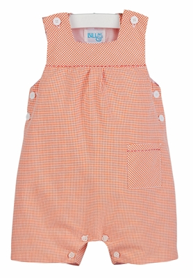 Luli & Me Baby / Toddler Boys Orange Check Romper with Pocket