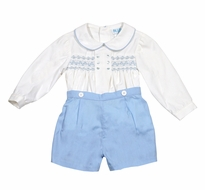 Luli & Me Baby / Toddler Boys Prince George Smocked Button On Shorts Outfit - Blue