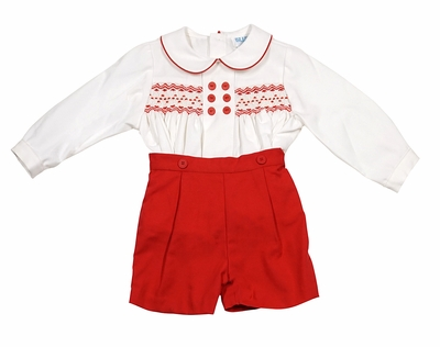 Luli & Me Baby Boys Smocked Prince George Button On Outfit - Red