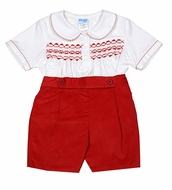 Luli & Me Baby / Toddler Boys Smocked Red Prince George Button On Shorts Suit