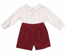 Luli & Me Baby / Toddler Boys Stripes & Corduroy Button On Outfit - Burgundy