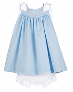 Luli & Me Baby / Toddler Girls Blue Dress with Pink Embroidery - White Bows