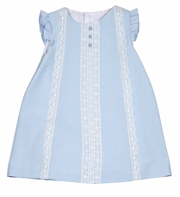 Luli & Me Baby / Toddler Girls Blue Pique Dress with Lace