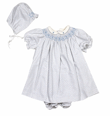 Luli & Me Baby / Toddler Girls Blue Tiny Floral Smocked Dress - Infant Sizes Include Bonnet and Bloomers