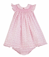 Luli & Me Baby / Toddler Girls Easter Bunny Print Smocked Dress with Collar - Pink