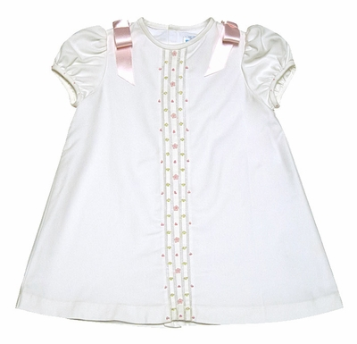 Luli & Me Baby / Toddler Girls Ivory A-Line Dress with Pink Rosettes and Bows