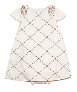 Luli & Me Baby / Toddler Girls Ivory Quilted Pique Dress - Trellis Embroidery & Floral Bows on Shouders