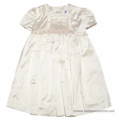 Luli & Me Baby / Toddler Girls Ivory Silk Smocked Dress with Attached Ruffle Bolero