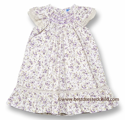 Luli & Me Baby / Toddler Girls Lilac Purple Floral Smocked Bishop Dress