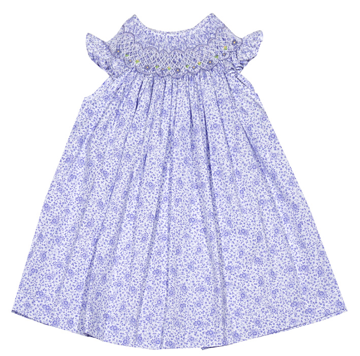 2152cd669 Luli & Me Baby / Toddler Girls Lilac Purple Floral Smocked Bishop Dress -  Infant Sizes Include Bloomers
