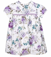Luli & Me Infant / Toddler Girls Lilac Purple Rose Floral Float Dress - Infant Sizes Include Bloomers