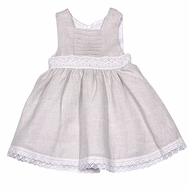 Luli & Me Baby / Toddler Girls Natural Flax Linen Blend Sleeveless Dress with Lace Waist