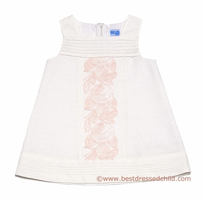 7b82f57e3e4f Luli   Me Baby   Toddler Girls Off White Linen   Peachy Pink Embroidered  Dress