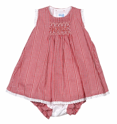 Luli & Me Baby / Toddler Girls Patriotic Red Gingham Smocked Bloomers Set - Eyelet Trim