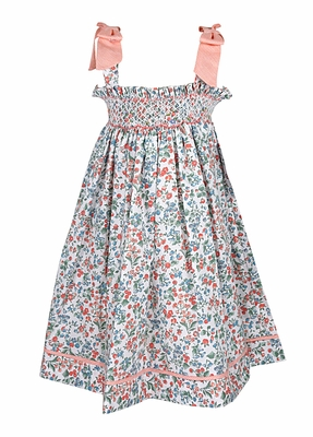 Luli & Me Baby / Toddler Girls Peach Floral Smocked Sun Dress with Bows