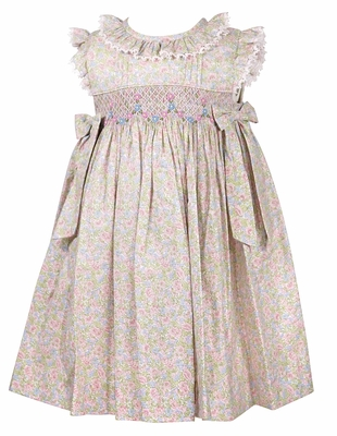 Luli & Me Baby / Toddler Girls Pink / Green Floral Smocked Dress with Side Bow Ties
