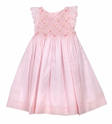 Luli & Me Baby / Toddler Girls Pink Organdy Smocked Bodice Dress - Flutter Sleeves & Sash