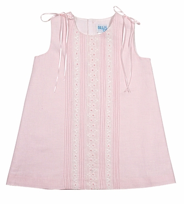 Luli & Me Baby / Toddler Girls Pink Linen Blend Lace Dress with Ribbons