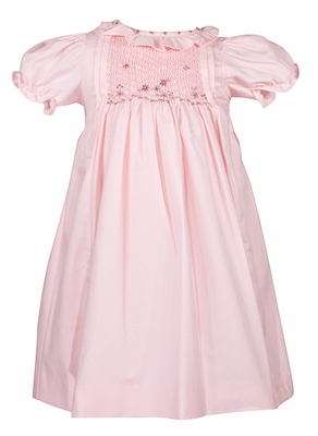 Luli & Me Baby / Toddler Girls Pink Smocked Dress with Ruffle Collar and Sash