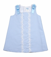 Luli & Me Baby / Toddler Girls Scallop Lace Dress with Satin Bows - Blue