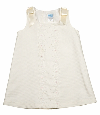 Luli & Me Baby / Toddler Girls Scallop Lace Sleeveless Dress with Bows - Ivory