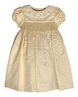 Luli & Me Baby / Toddler Girls Shimmering Gold Smocked Holiday Dress