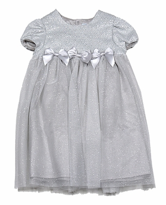 Luli & Me Baby / Toddler Girls Silver Holiday Party Dress with Bows
