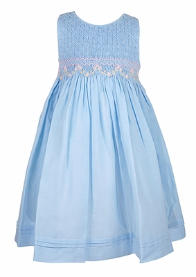 Luli & Me Baby / Toddler Girls Sleeveless Blue Organdy Smocked Bodice Dress with Sash