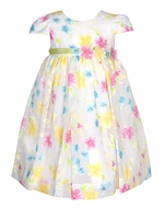 Luli & Me Baby / Toddler Girls White Dress - Pink / Blue / Yellow Flowers - Cap Sleeves