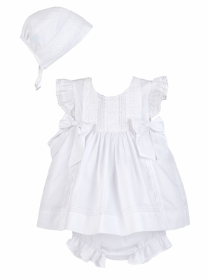 Luli & Me Baby / Toddler Girls White Dress with Lace and Bows - Infants Include Bonnet