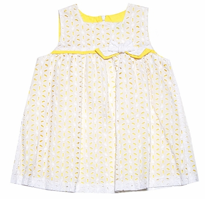Luli & Me Baby / Toddler Girls White Eyelet Lace Float Dress with Yellow Underlay