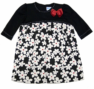 Luli & Me Girls Black Knit White Flowers Print Dress with Red Bow