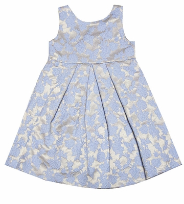 Luli & Me Girls Blue / Gold Jacquard Holiday Party Dress with Bow & Full Crinoline Skirt