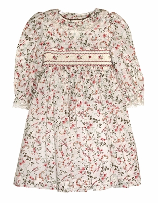Luli & Me Girls Burgundy Floral Dotted Swiss Smocked Bodice Dress