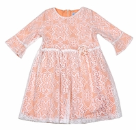 Luli & Me Girls Coral Dress - Lace Overlay / Bell Sleeves / Flower